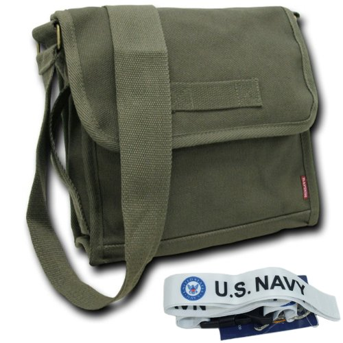 (RD Heavyweight Field Messenger Bag with Free Lanyard (Olive, Navy - White))