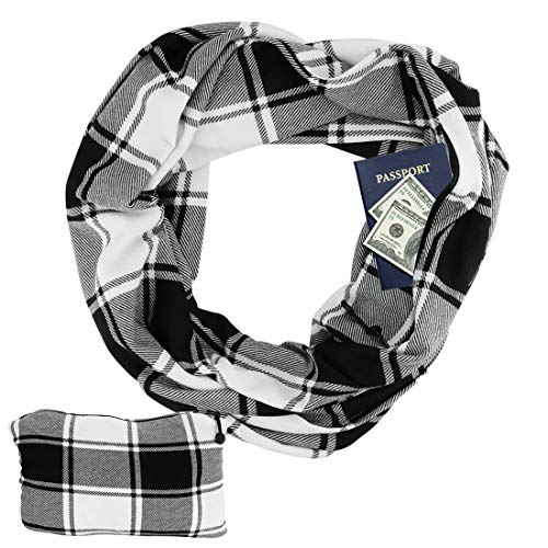 Women's 2 in 1 Buffalo Check Plaid Zipper Infinity Pocket Scarf,Black - Plaid Accessories