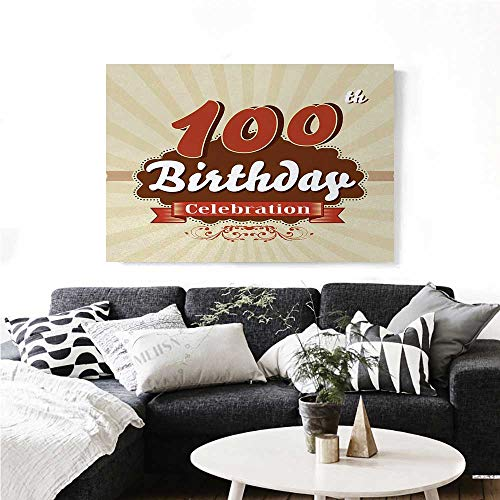 100th Birthday Canvas Wall Art Chocolate Wrap Like Brown Party Invitation Hundred Years Celebration Print Paintings for Home Wall Office Decor 48