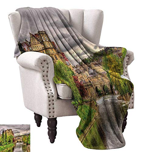 WinfreyDecor Landscape Decorative Throw Blanket Nature Themed View of Bath Town Over The River Avon in England Digital Print Sofa Chair 70