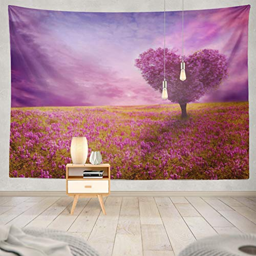 WAYATO Nature-Landscape Wall Hanging Tapestry, 80 x 60 inch Tree Love Heart Landscape Shape Spring Lilac Sunset Abstract Beauty for Home Decorations Bedroom Dorm Decor