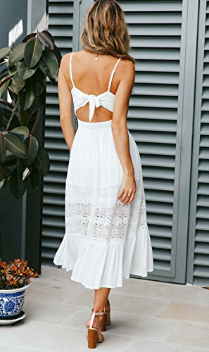 Moda Encaje Costura Playa Partido de de con Vestido Vestido Blanco de Hendidura Corbata Midi Fiesta Tirantes Cóctel Mujeres Backless Vestidos Moño xwzOOv