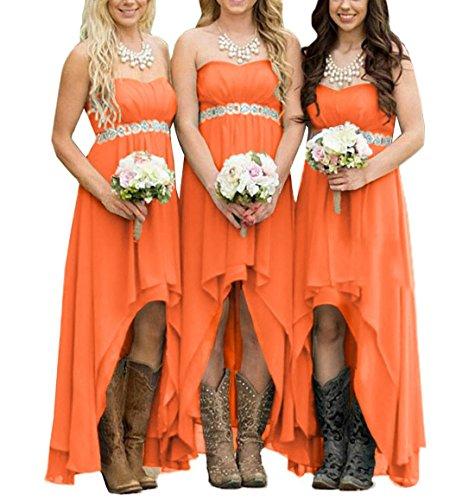 for Strapless Prom Elegant Women Orange Dreagel Low Dresses Hi Bridesmaid Gowns agdW8wPq