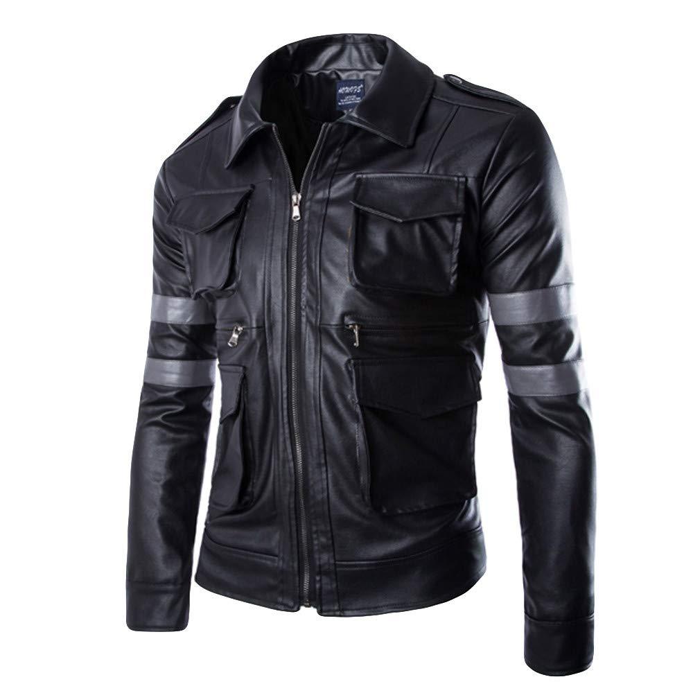 Black L Black L Ennglun Winter Jacket for Men,Men's Winter Lapel Multi Imitation PU Leather Coat,Mens Winter Coats