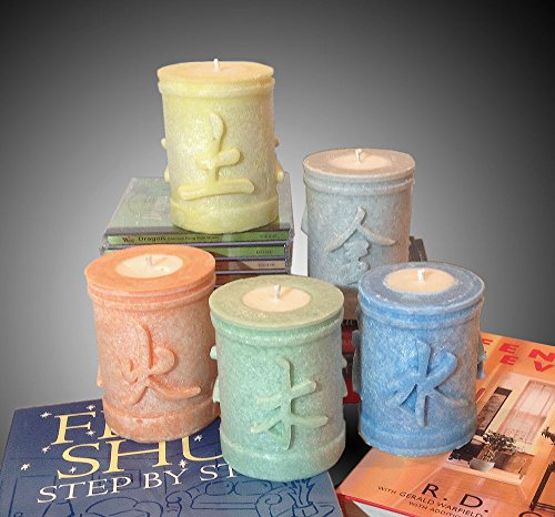 Five Element Feng Shui Candles: Set of 5