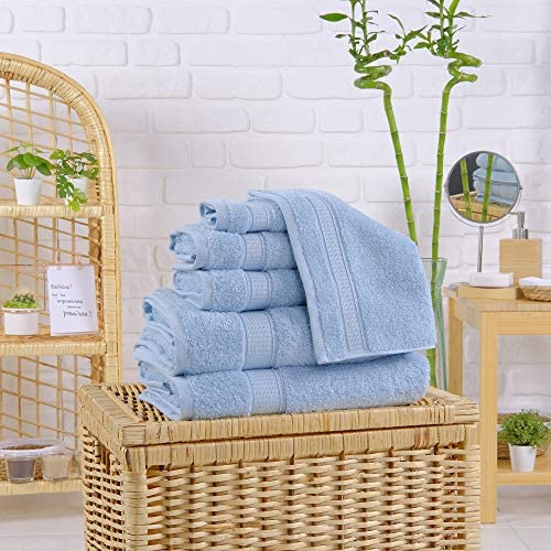 Towels Set for Bathroom, Hotel & Spa Quality, Super Soft, Highly Absorbent, Luxury Towels, Genuine Cotton 6 Piece Towel Sets, Includes 2 Bath Towels, 2 Hand Towels, 2 Washcloths, La Hammam, Aqua