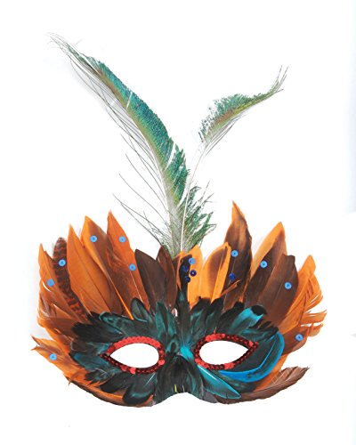 Loftus International Mystical Long Multicolored Feather Mask, One Size - Mystical Feather Mask