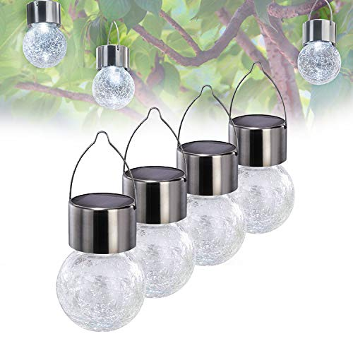 Solar Powered Lights Outdoor Tree Hanging Light Garden Lights- Weatherproof Design- White Lantern Pathway Landscape Lights for Garden/Yard/Patio/Window- Set of 4