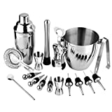 Funnytoday365 Practical Bartender Kit 17 Pieces Cocktail Bar Set Stainless Steel Shaker Set Includes 24Oz Martini Cocktail Shaker 50Oz Ice