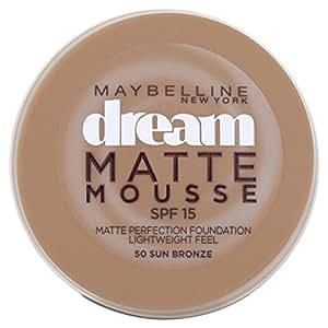Maybelline Dream Matte Mousse 50 Sun Bronze - base de maquillaje (Crema, Frasco dispensador, Sun Bronze, Piel Oscura, Piel mixta, Piel seca, Piel normal, Piel grasosa, Piel sensible, Mate)