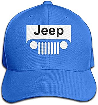 Yhsuk Jeep Logo Adjustable Hunting Peak Hat/Cap Royalblue: Amazon ...
