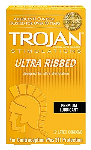 (Trojan Ribbed Ecstasy Condoms - Box of 3)