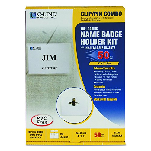 C-Line Clip/Pin Combo Style Name Badge Holders with Inserts, 4 x 3 Inches, 50 per Box (95743)