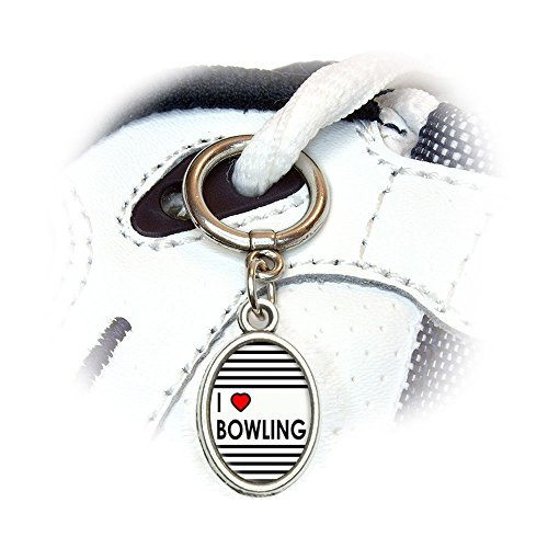 - I Love Heart Bowling Shoe Sneaker Shoelace Oval Charm Decoration
