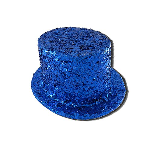 [Fancy Costume Blue Glitter Unisex Top Hat] (Blue Top Hat)