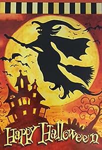 "Feliz Halloween bruja bandera de Jardín Casa Encantada murciélagos luna Banner 12,5""x18"""