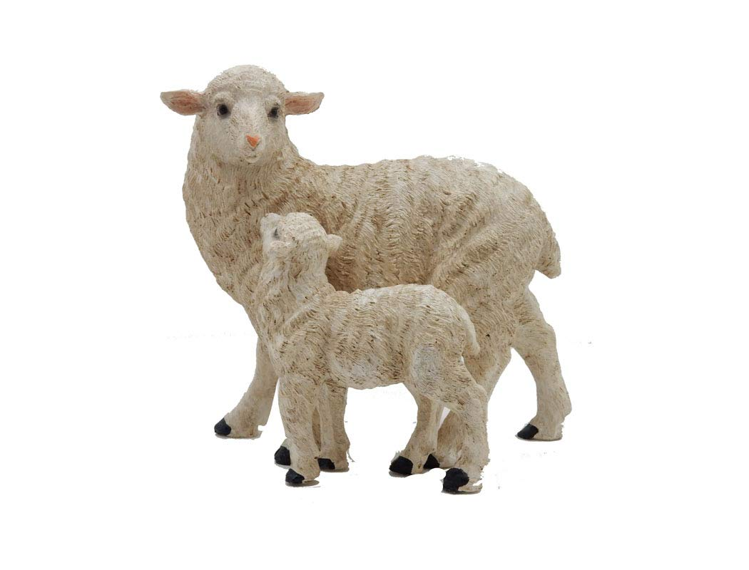 Green Pastures Wholesale Green Pastures Polyresin Sheep - Walking with Lamb Multi