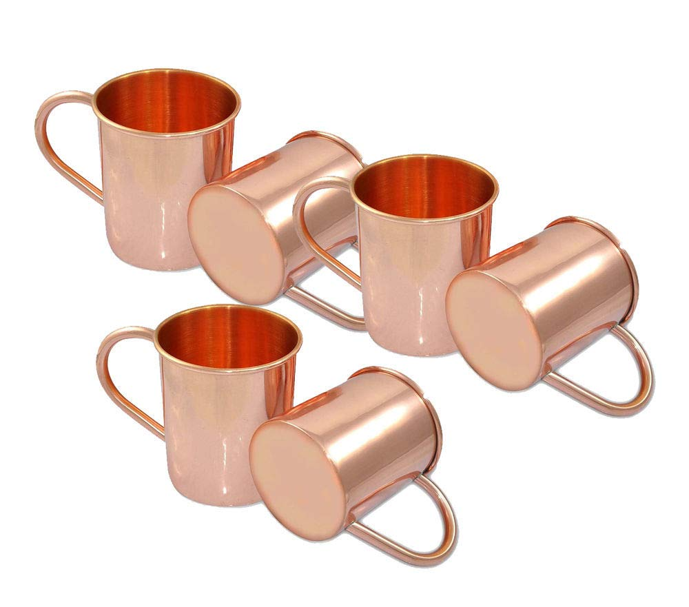 Indian handmade 100% Pure Copper Solid Drinkware Mug Ayurveda Health Benefit Serving Cup Moscow Mule Mugs Set of 6 16 Oz