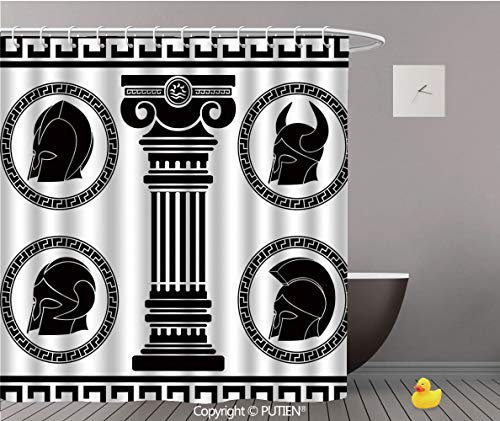 PUTIEN Exquisite Shower Curtain [ Toga Party,Patterned Circular Frames with Antique Helmets Spartan Military Costume,Black and White ] Bathroom Accessories Bathroom Curtain Ideas,60