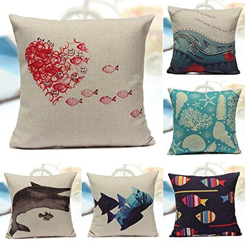 [Ocean Animal Fish Shells Pattern Cotton Linen Pillow Case(Random: Animal)] (Kids Deluxe Ultron Costumes)