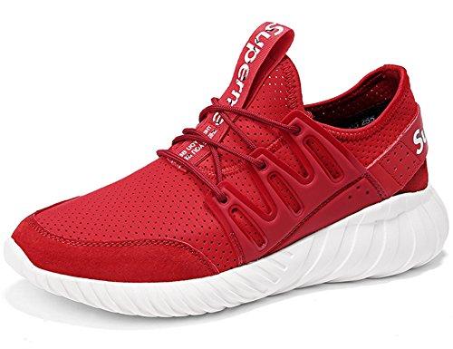 antiscivolo Scarpe Sneakers ginnastica GNEDIAE da 9065 Uomo da Confortevoli Corsa scarpe Ginnastica Leggeri bianco Scarpe Sportivi rosso da q8q6g