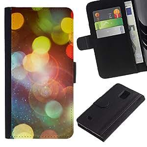 YiPhone /// Tirón de la caja Cartera de cuero con ranuras para tarjetas - Bokeh Luces - Samsung Galaxy Note 4 IV
