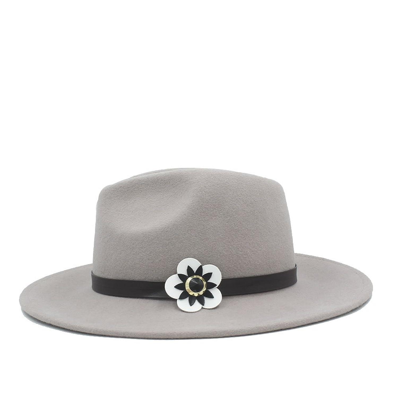 359941913f6 Amazon.com  100% Australia Wool Women Fedora Hat with Cortex White Flowers  (Color   1