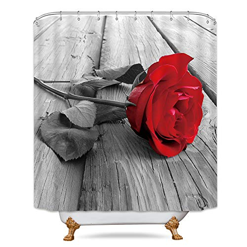 Wowzone Red Rose Shower Curtain Floral Grey Barn Floor Flower Bathroom Accessories Decor Fabric Set Polyester Waterproof 72x72 Inch 12-Pack Plastic  Hooks