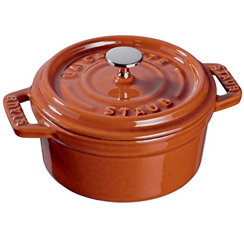 Staub 11010806 Cast Iron Mini Round Cocotte, 0.25-quart, Burnt Orange
