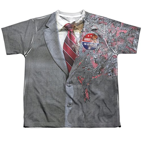Trevco The Dark Knight Two-Face Uniform Youth or Boy's Front Only Sublimated T Shirt (Double Batman Face)
