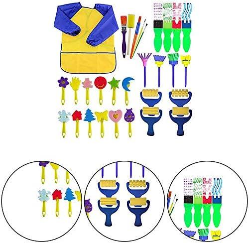 Herramientas de Pintura de Aprendizaje temprano para ni/ños Juego de 29 brochas de Pintura para ni/ños y Delantal Impermeable para Manualidades Regalo Namgiy