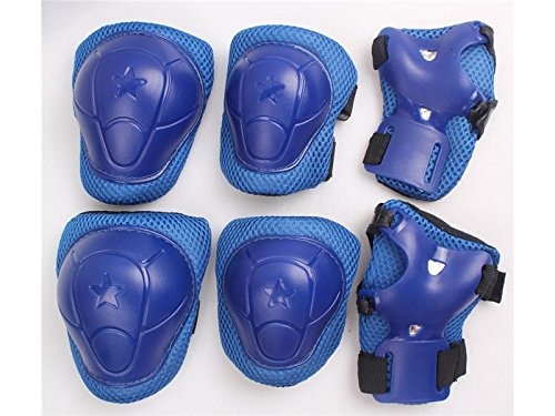 Wetietir Skating 6 Pcs/Set Kid's Protective Gear Set Elbow Knee Handguard Roller Skating Skateboard BMX Scooter Cycling (Blue M) Protection by Wetietir