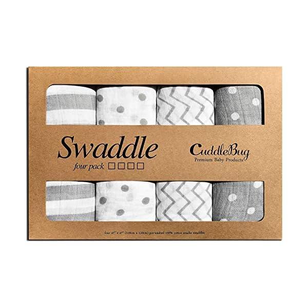 CuddleBug Mussole Neonato Pacco da 4 - Copertina neonato leggera disponibile in 4 design - Mussola neonato 120 cm X 120… 2 spesavip