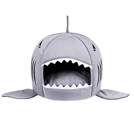 Wishdeal Cama para Perro, cálida Cama para Invierno, diseño de tiburón de Dibujos Animados