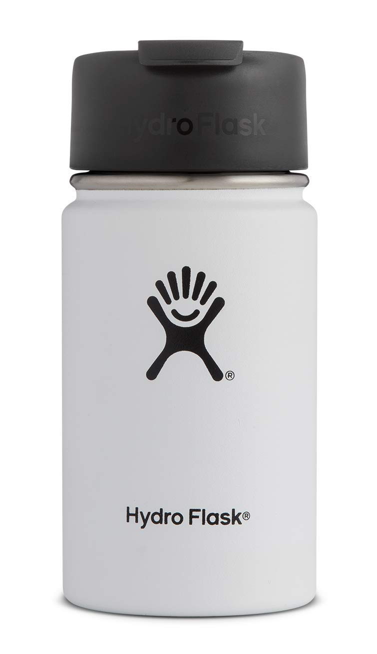 Hydro Flask 12 oz Travel Coffee Flask | Stainless Steel & Vacuum Insulated | Wide Mouth with Hydro Flip Cap | White