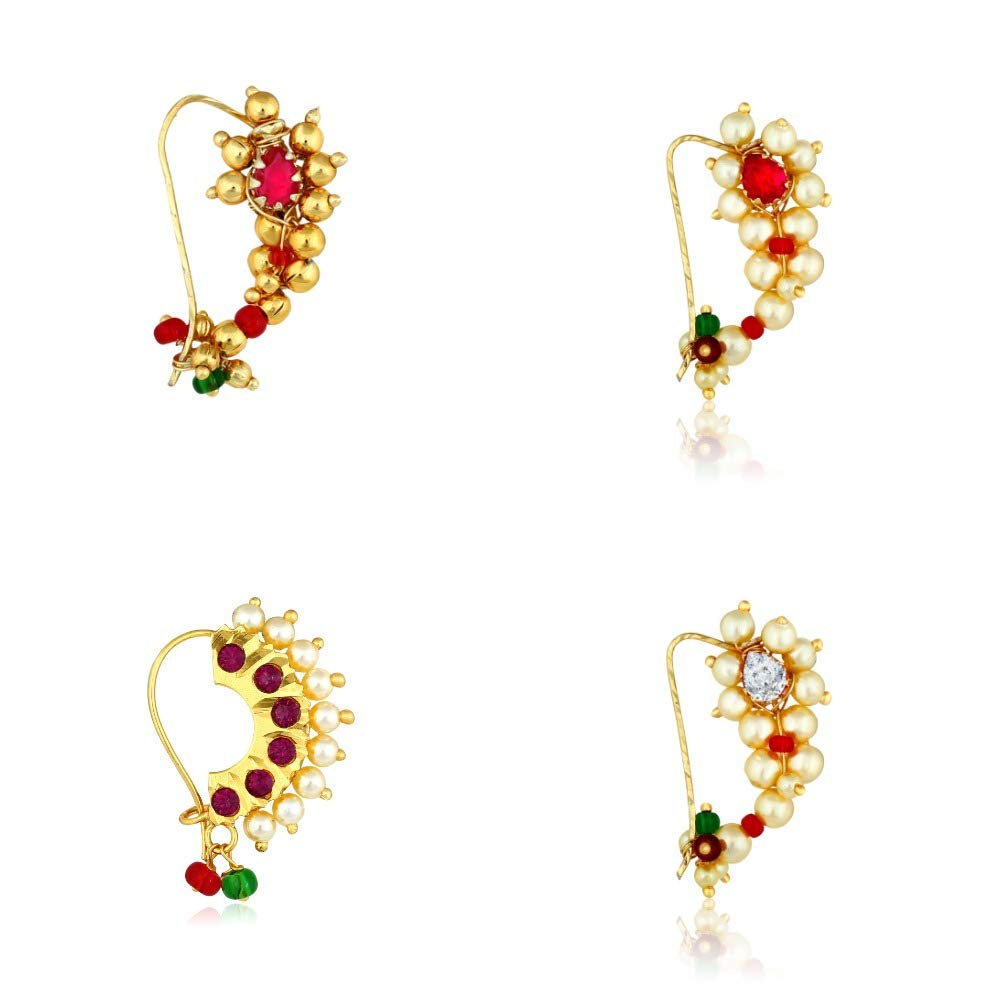 Buy Meenaztraditional Jewellery Gold Maharashtrian Combo Nose Pin