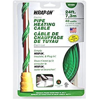 WRAP-ON Pipe Heating Cable - 24-Feet, 120 Volt, Built-in Thermostat, Low Wattage - 31024