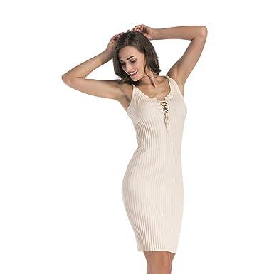3f2764aa448 NiSeng Femme Bretelles Tricot Droite Robe Pull Crayon Longue Mini Robe  Moulante sans Manches Bodycon Robe