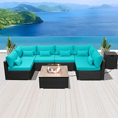 Modenzi Outdoor Sectional Patio Furniture with Propane Fire Pit Table Espresso Brown Wicker Resin Garden Conversation Sofa Set (G7 Sofa Square Fire Pit, Turquoise) (Fire Pit Furniture)