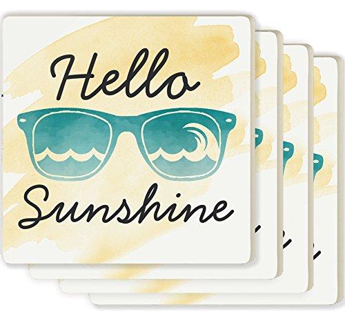 Hello Sunshine Sunglasses Yellow Watercolor Look 4 x 4 Ceramic Coaster 4 - Sunshine Sunglasses