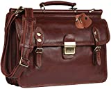 Banuce Mens Italian Leather Flapover Briefcase Tote 2way Business Laptop Messenger Bag Attache Case
