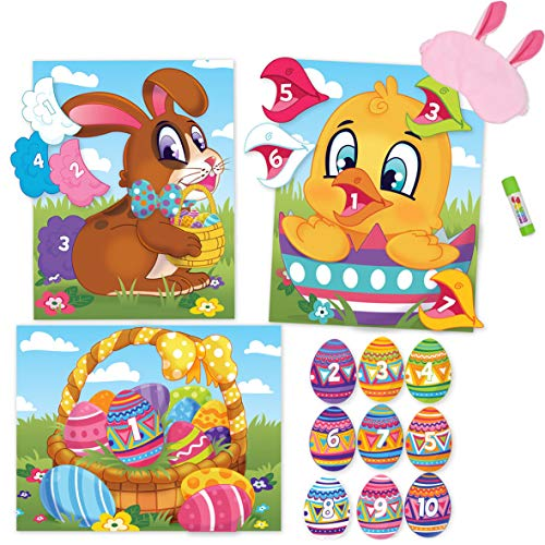 JOYIN 3 Easter Pin the Tail Games for Easter Party, Pin the Tail on Bunny, Pin the Beak on Chicken, Pin the Easter Egg in Basket Easter Game Pack with Bunny Eye Mask (Glue Stick Included). Easter Party Game and Accessory