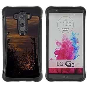 Híbridos estuche rígido plástico de protección con soporte para el LG G3 2014 Smart Phone - sunset street post city nature