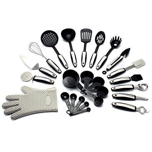 PLUSH HOME - 25 Piece Kitchen Utensil Set (Includes: Silicone Oven Glove, Spatulas, Pizza Cutter, Wisk, Soup Ladle, Measuring Cups, Peeler, Tongs, and MORE)