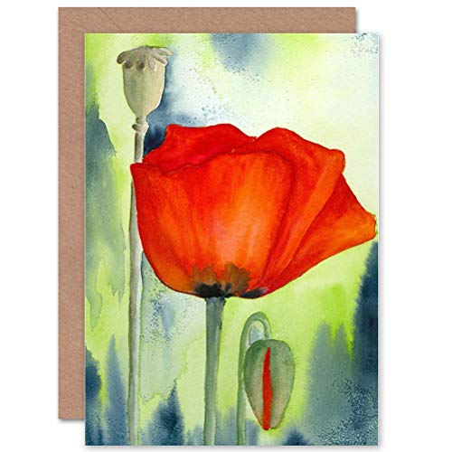 Wee Blue Coo Poppy Flower Painting Watercolour RED Blank Greetings Birthday Card Art
