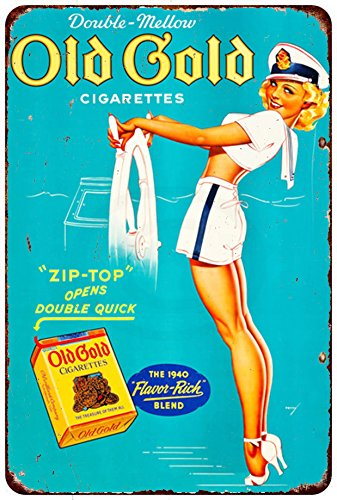 Custom Kraze Old Gold Cigarettes Pin-Up Reproduction Metal Sign 8 x 12