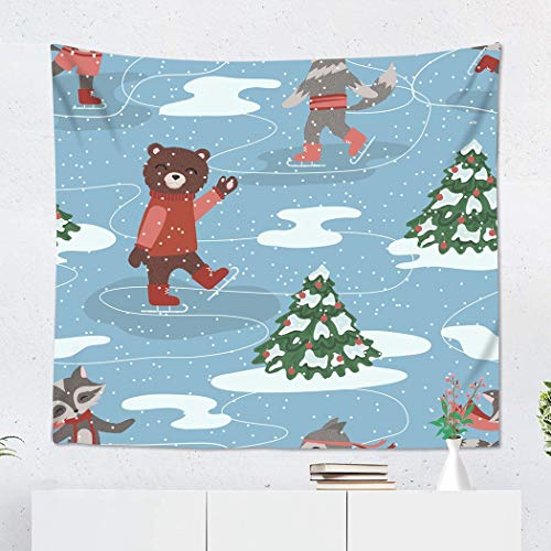 Suklly Tapestry Wall Hanging Polyester Blue Ice of Skating Animals Red Bear Black Bow Cartoon Character Christmas Home Decor Living Room Bedroom Dorm 60 x 80 inches Picnic Mat Beach Towel