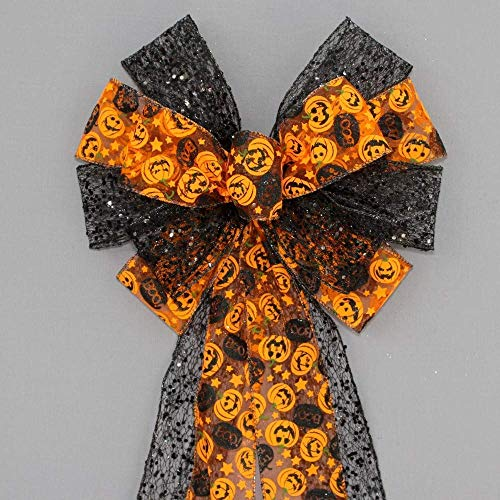 Pumpkin Black Mesh Halloween Wreath Bow - 10
