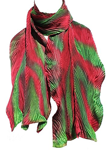 Cherry Red and Green Hand Painted Arashi Shibori Silk Scarf by ArtisanStreet