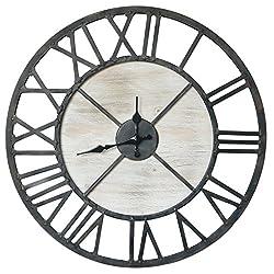 Barnyard Designs Rustic Vintage Decorative Metal and Wood Circular Wall Clock 20-Inch
